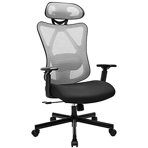 BASETBL Bürostuhl Ergonomischer Schreibtischstuhl, Abschließbare Liegefunktion, Höhenverstellbarer Atmungsaktiver Netzstoff, Drehstuhl mit Verstellbarer Lordosenstütze, 150 kg Grau Neu