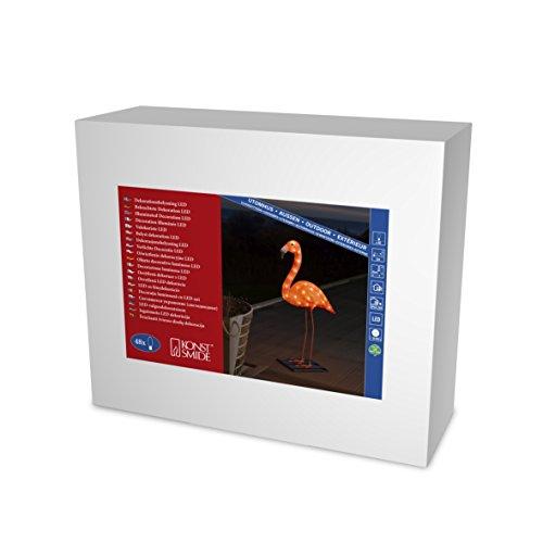 Konstsmide, 6272-803, LED Acryl Flamingo, klein, 48 bernsteinfarbene Dioden, 24V_Außentrafo, weißes Kabel