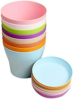 """KINGLAKE 8 Pcs 4"""" Plastic Plant Flower Seedlings Nursery Pot/Pots Planter Colorful Flower Plant Container Seed Starting Pots with Pallet,8 Colors"""
