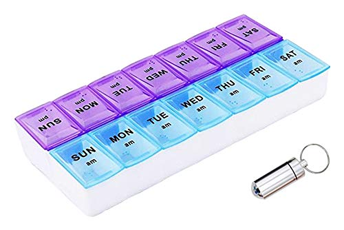 Gaonmic Weekly AM PM Pill Organizer Box 14 Compartments Container Case Portable Travel and 1 First aid Medicine Bottle