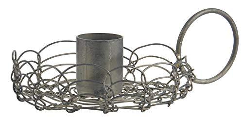 IB Laursen Filigraner Kerzenhalter für Stabkerzen Antik Shabby Kerzenständer Blüte mit Henkel 57068-18