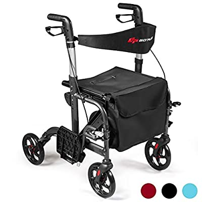 GOPLUS 2 in 1 Folding Rollator Walker, 4 Wheel Medical Rolling Walker with Adjustable Handle and Carry Bag for Adult, Senior, Elderly & Handicap, Aluminum Transport Chair Mobility Rollator