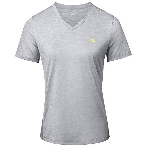 DANISH ENDURANCE Women Workout T-Shirt, Breathable Fitness Top (Gris Melange, S)