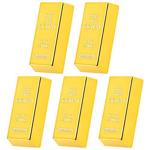 MZSM 5 Stks Nep Goudstaaf Plastic Goudstaven Gouden Deur Wig Presse-Papier Gouden Deurstop Piraat Gouden Schat Decoratieve Prop Voor Thuiskantoor Decoratie