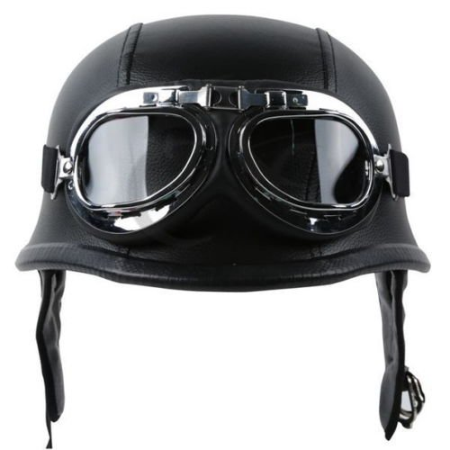 TCMT Dot Adult German Style Black Leather Half Helmet Motorcycle Chopper Cruiser Biker Helmet Goggles XL