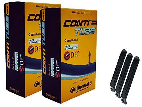 pneugo! Continental 54-110 D26 Compact 8 - Cámara de aire para bicicleta (2 unidades, 8', incluye 3 desmontadores)