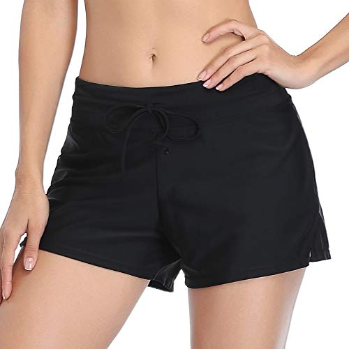 Summer Mae Shorts de Baño Deporte Pantalones Cortos Bikini Pantalon Short Bañador Mujeres para Gimnasio Playa Negro L