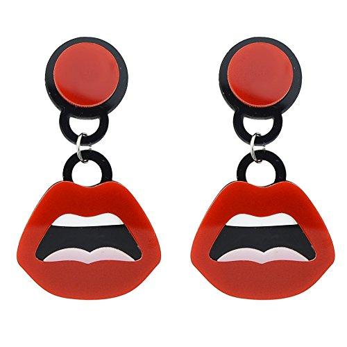Feelontop® El último diseño Mujeres sexy Estilo lindo Hot Red Lips Resin cuelga los pendientes con la bolsa