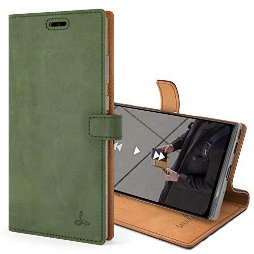 Snakehive Note 20 Schutzhülle/Klapphülle echt Lederhülle mit Standfunktion, Handmade in Europa für Note 20 (Grün)