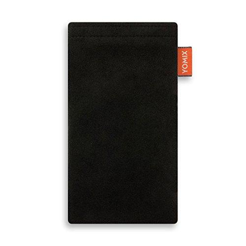 YOMIX Handytasche | Tasche | Hülle Hugo schwarz für Lenovo Moto E3 aus Alcantara® mit genialer Bildschirm-Reinigungsfunktion durch Microfaserinnenfutter