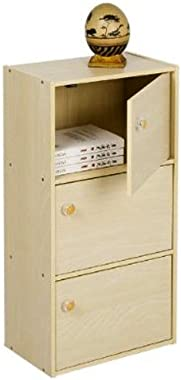 Furinno Pasir 3 Tier Bookcase with Door with Round Handle, Steam Beech