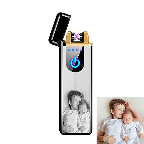 Stɑy Real Personalisierte Benutzerdefinierte Foto Männer Feuerzeug USB Wiederaufladbarer Fingerabdruck-Induktionslichtbogen Feuerzeug Vatertagsgeschenk,Schwarz-Einseitig