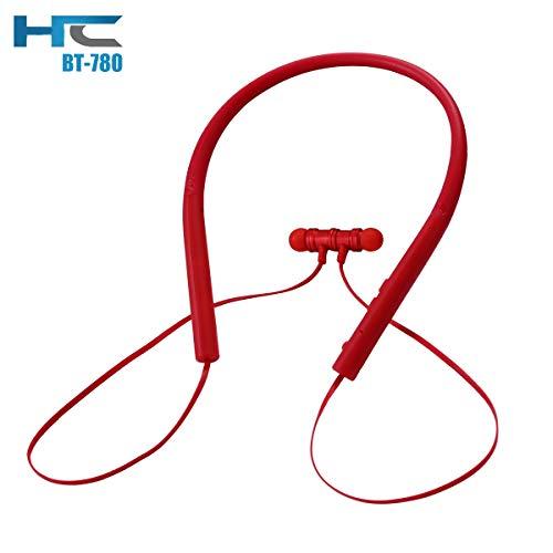 HC BT780 イヤホン Bluetooth スポーツ ワイヤレス ヘッドホン 防水 防汗 ブルートゥース ヘッドフォン チップ 立体 ハイビジョンの音質 重低音 ノイズ隔離 内蔵 マイク 通話 8時間連続再生 iPhone Android対応 (赤)