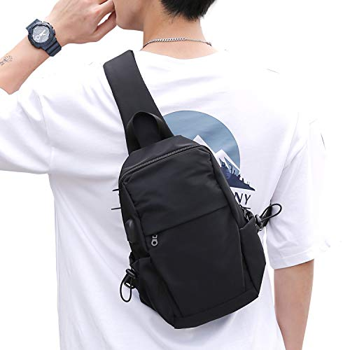 Small Black One Strap Backpack Sling Bag Crossbody Backpack for Men Women, Lightweight Waterproof Sling Backpack Shoulder Bag for Hiking Walking Biking Travel Cycling USB Charger Port-Nylon