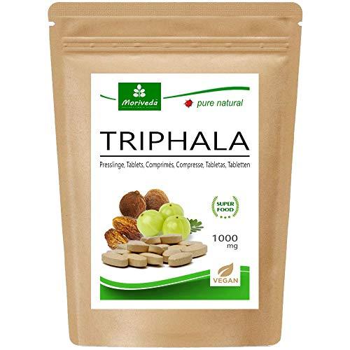 Triphala Presslinge 1000mg (120 oder 360 Stück) Ayurveda Königsfrüchte Amla (Amalaki), Hiritaki, Bibhitaki – Qualitätsprodukt von MoriVeda (120 Tabs)