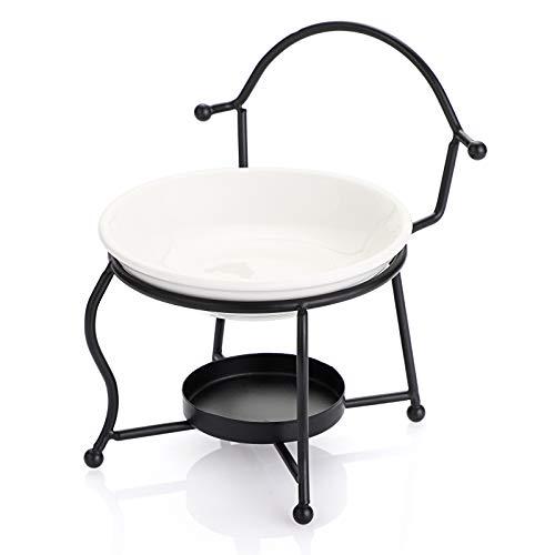 BSTKEY Quemador de aceite esencial de metal quemador de cera con tazón de cerámica, soporte decorativo para velas de té, difusor de aroma, forma de silla (negro)