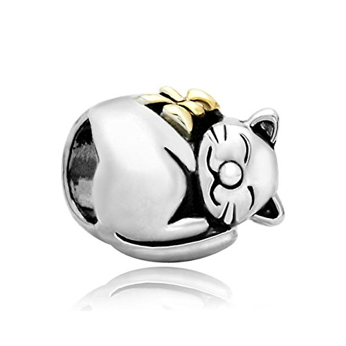 Uniqueen Cat Animal Charms Jewellery New Beads Fits Charm Bracelet Gifts