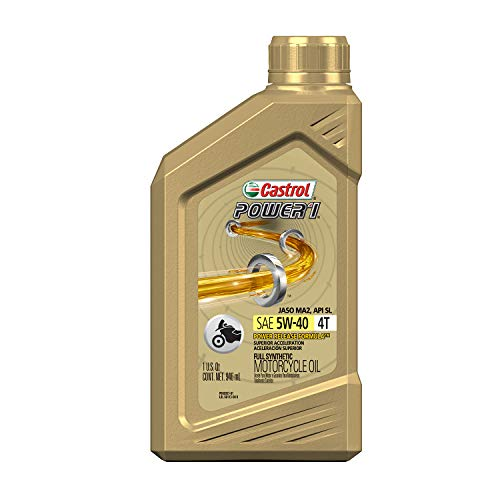 Castrol 06113 Power1 4T 5W-40 Synthetic Motorcycle Oil, 1 Quart Bottle, 6 Pack