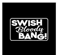 車 ステッカー 13.7Cm * 8.1Cm Swish Bloody Bang!ビニールデカールカーステッカーブラック/シルバー