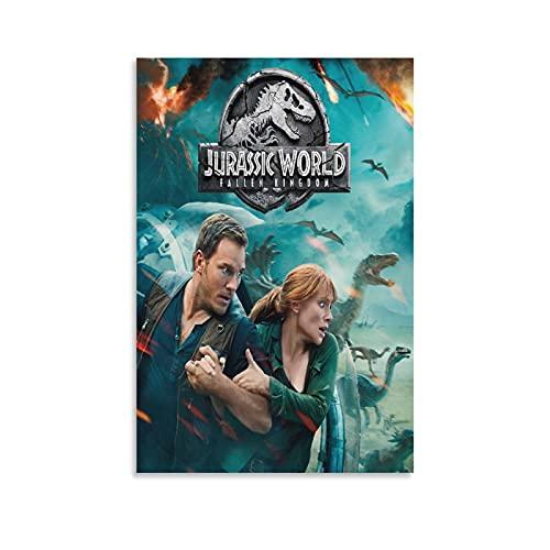 Jurassic World Fallen Kingdom Blu Ray (2) Poster su tela e stampa artistica da parete moderna per camera da letto, 50 x 75 cm