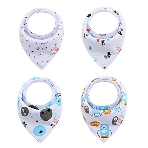 LvRaoo Baby Jungen Mädchen Dreieckstuch Lätzchen 4er Saugfähig Weich Spucktuch Lätzchen Halstücher mit Druckknöpfen - Style 72, Eine Größe