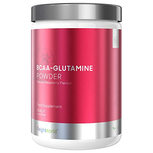 BCAA Glutamine Powder Vegan Supplement - 7000mg Branched Chain Amino Acids Per Serving - Natural Raspberry Post Workout Recovery - 4 Essential Amino Acids for Optimum Muscle Growth - by WeightWorld