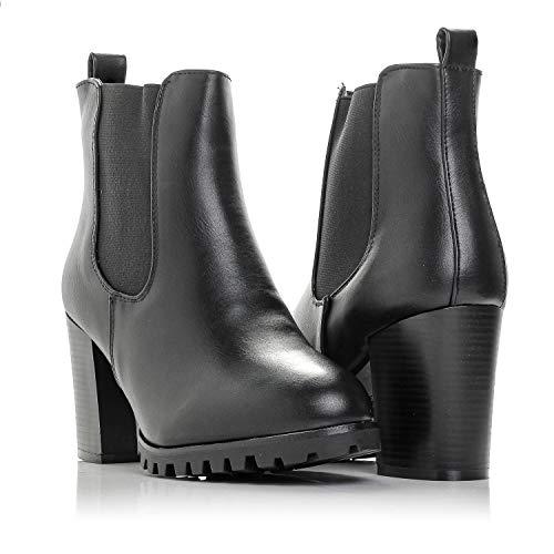 Bellmora Payton-05 Womens Chelsea Boot Side Zip Elastic Panel Chunky Heel Ankle Bootie (Black 8 B(M) US)