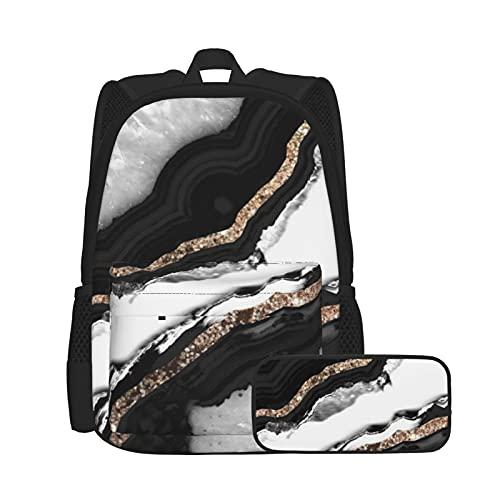 Asual - Juego de mochila y estuche para lápices, combinación de bolsa para portátil y estuche, mochila de trabajo y estudio y bolsa de cosméticos, combinación de ágata con purpurina Glam Gem Decor Art