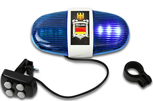 Trendario Fahrrad Polizei Blaulicht mit Sirene, Fahrradzubehör Kinder Sirene, Polizei Licht mit 6 LED Lampen und Warnsignalen Sounds