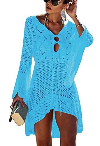 Yidarton Strandkleid Damen Gestrickte Sommerkleid Bikini Cover Up Crochet Strandponcho V-Ausschnitt Badeanzug Beachwear Cover Up (Blau-1)