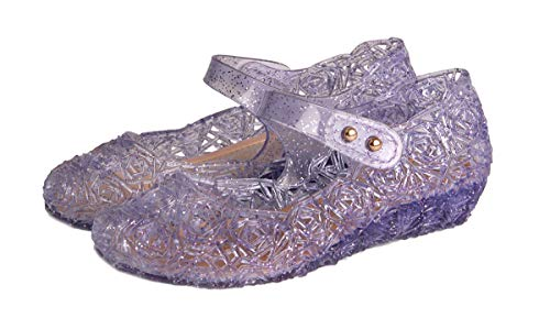 Rapunzel, Sofia or Alice Princess Costumes Cute Jelly Flats Shoes for Little Girls, Toddler or Kids US Size 9 Purple