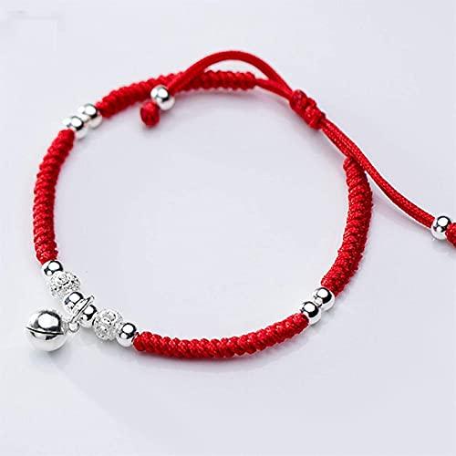 Feng Shui Pulsera de riqueza para buena suerte S925 Silver Bell Hand Wove Rojo String Brazalet Regalos chinos para curar ajustable Atraer dinero para una buena fortuna Valorosa trae prosperidad Plztou