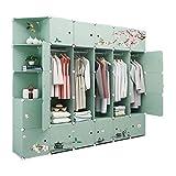 LYLY Armario simple para el hogar, tela de plástico, combinada, gabinetes para ahorrar espacio, gabinetes de almacenamiento de ropa, armario (color: verde)