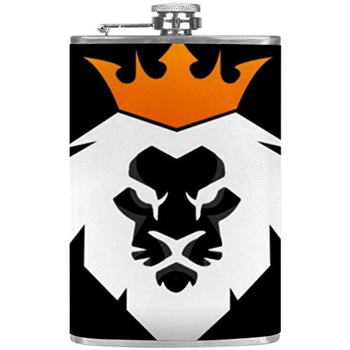 Zwarte en witte Abstract Leeuw Flat Liquor Flask met trechter Alcohol Whiskey Wijnvlaggen 9.2x15cm/3.6x6in Mutli01