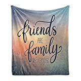 Ambesonne Family Soft Flannel Fleece Throw Blanket, Friends are Famly We Choose Inspirational Phrase Fashion Print BFF Theme, Cozy Plush for Indoor and Outdoor Use, 50' x 70', Blue Yellow