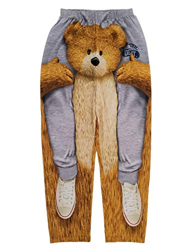 Riding On A Teddy Bears Shoulders Gray Sleep Lounge Pants - 2XL