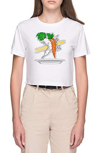 Makanko-Ensalada !!! Mujer Blanco Camiseta de Crop Manga Corta Women's White Crop T-Shirt