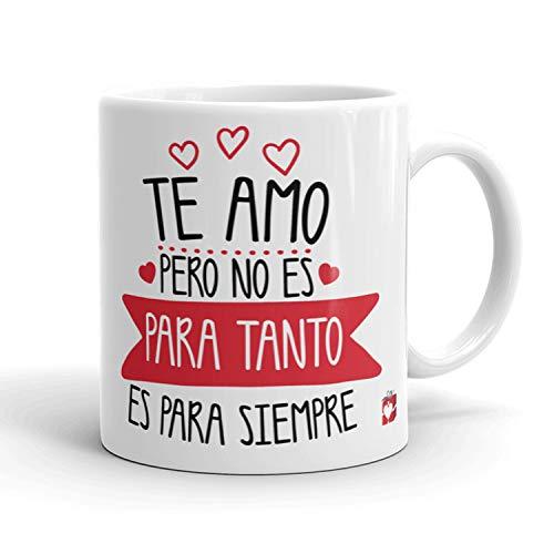 Kembilove Taza Desayuno para Parejas – Tazas Originales con Mensaje Te amo pero no es para tanto, es para siempre – Taza de Café y Té para Madres – Tazas de Regalo para el día de San Valentín