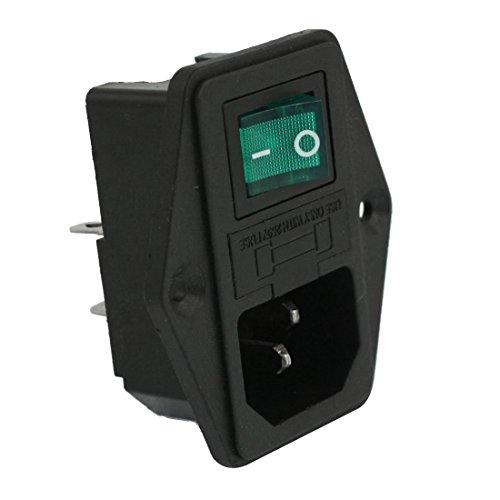 TOOGOO(R) AC 10A 250V IEC320 C14 Inlet Module Plug Neno Lamp Boat Switch