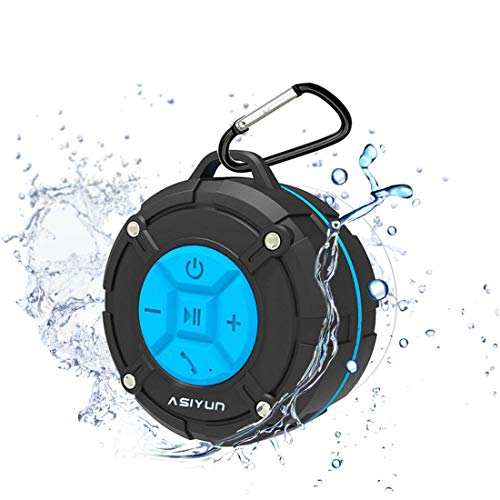 ASIYUN Shower Speaker, IPX7 Waterproof Bluetooth Speaker, Loud HD Sound, Portable Wireless Speaker with Suction Cup & Sturdy Hook, Built-in Mic, for Shower, Pool, Beach, Outdoor(Blue)