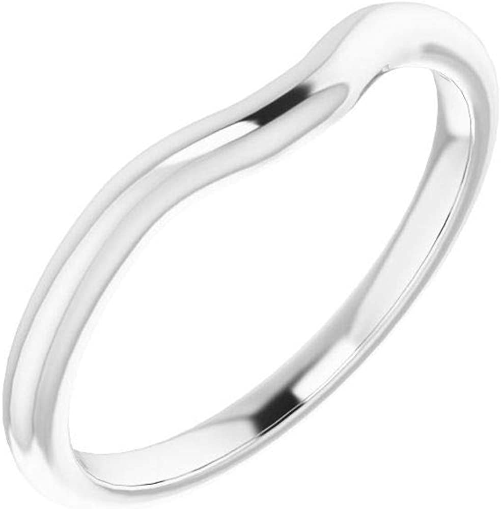 Solid 10K White Gold Curved Notched 4.5mm Band Fixed price for sale Wedding Squar Bombing new work