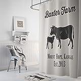 Ad4ssdu4 Personalisierter Duschvorhang Bauernhaus Dekor Bullen & Kalb Kuh