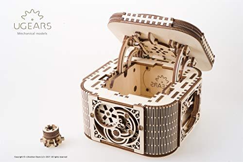 UGEARS Cofre del Tesoro con Llave - Caja Joyero kit modelo mecánico Puzzle de Madera 3D...