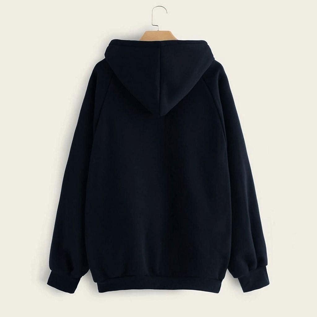 Toeava Sweatshirts for Women,Women's Teen Girls Fashion Solid Hoodie Pullover Drawstring Hooded Sweatshirt with Pocket