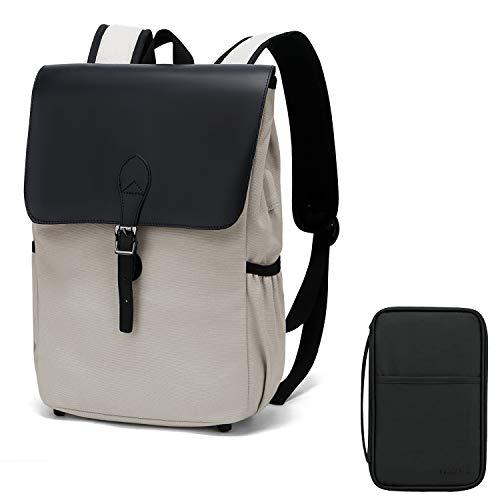 WindTook Rucksack Laptop Vintage Daypack Damen Backpack 15 Zoll Schulrucksack mit USB Kabel für Teenager Uni Arbeit Modisch Lässig Alltag Freizeit, Grau mit Reisepasshülle
