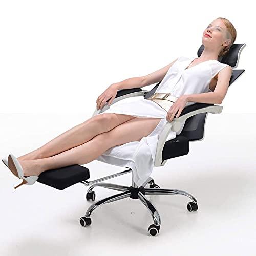 HZWZ Lounge Chair Zero Gravity Klappstuhl Ergonomische Büro Liegewinne Stuhl Kopfstütze - Atmungsaktives Netz Zurück - Weiche Schaumstoffsitzkissen Mit Fußstütze