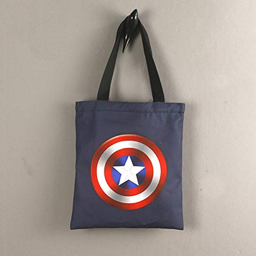Bolso De Lona del Capitán América Marvel Shield Creative Tote Bag Casual Simple Student Bandolera Miracle Shield Creative Shopping Bag