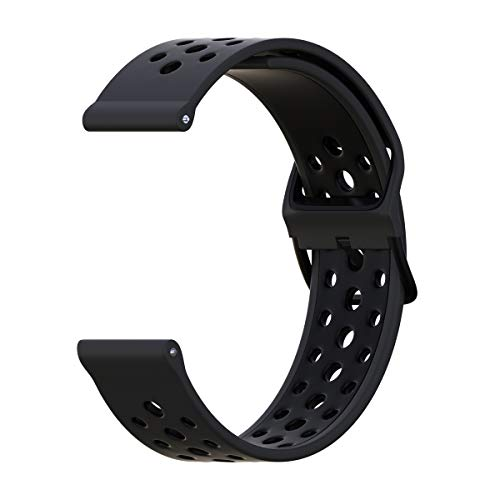 20mm Watch Band Breathable, B-Great Quick Release Silicone Band Replacement for Garmin Vivoactive 3 Music, Garmin Forerunner 245/645 Music, Michael Kors Access MKGO Smartwatch Band (Charcoal/Black)