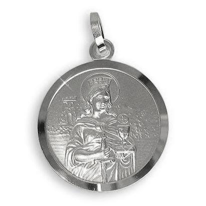 Echt Sterling Silber 925 Heilige Barbara Medaille Patronin der Bergleute, Durchmesser 18mm (Art.213411) Gratis Express Gravur