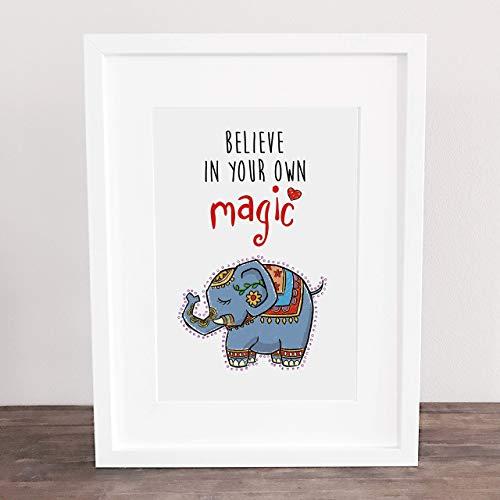 Poster, Kunstdruck, Bild, Elefant, Namaste, Glaub an dich, Geschenkidee, Deko: